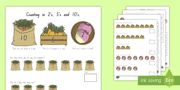 Counting In 2s, 5s And 10s Multiplication Worksheet   Activity
