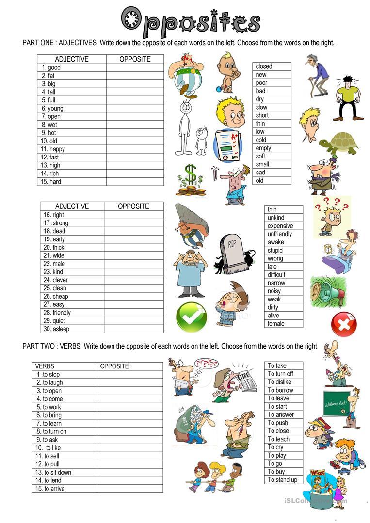 221 Free Esl Opposite Worksheets