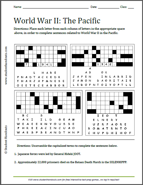 World War Ii In The Pacific Puzzles Worksheet