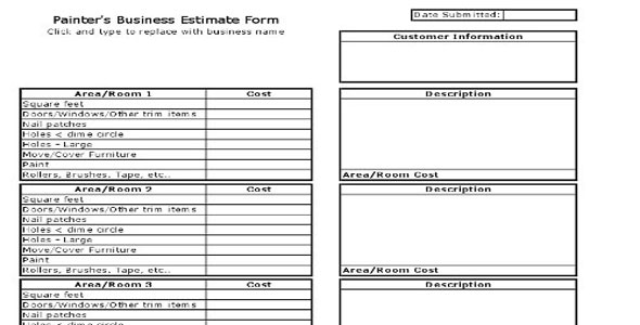 Painters Business Estimate Form