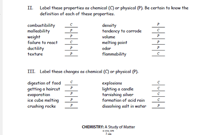Ms  Clark's Physical Science Blog  Answer Key  Physical And