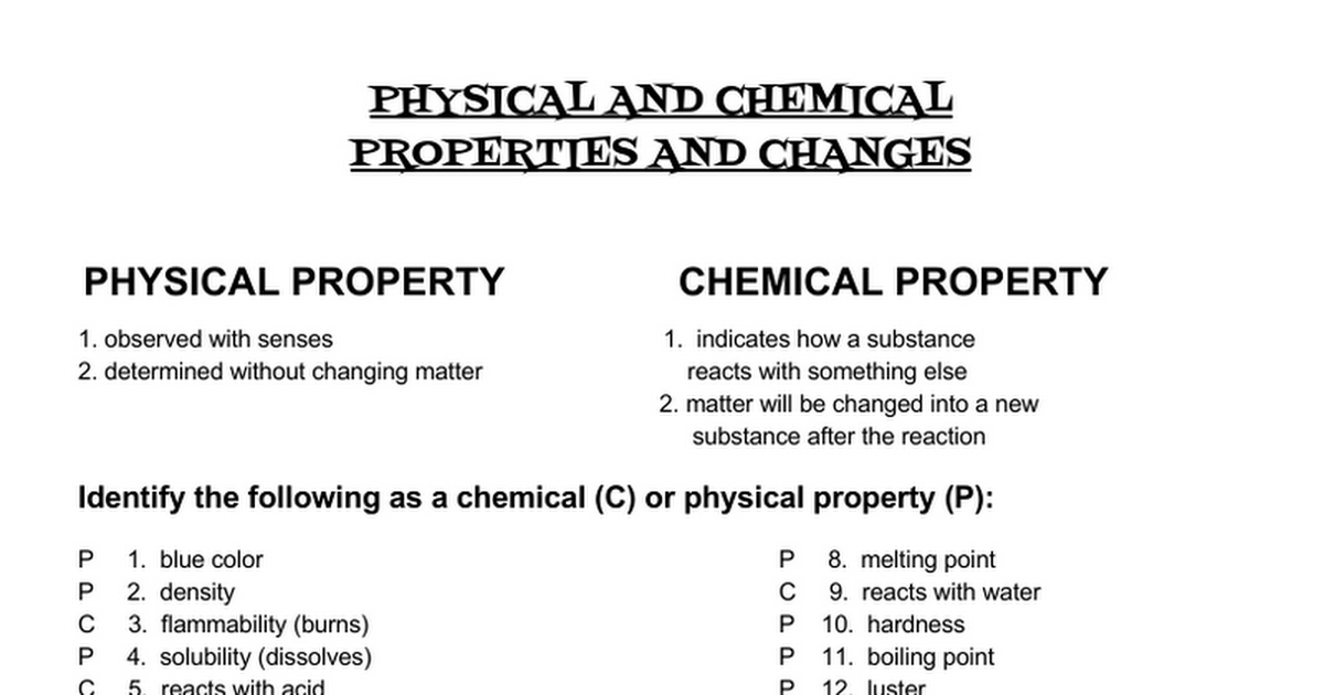Th Id Oip Physical And Chemical Properties Worksheet Answers