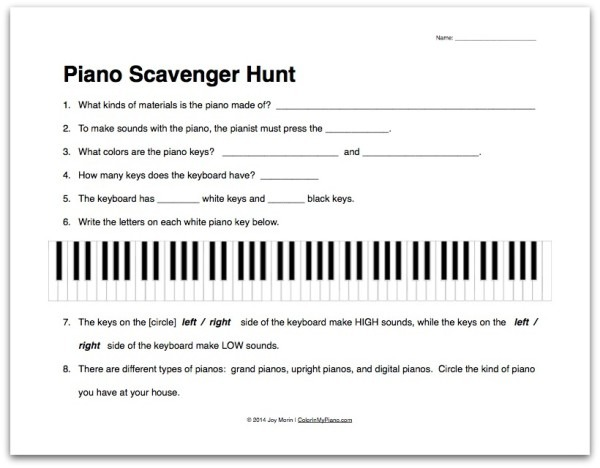 Worksheet  About The Piano Scavenger Hunt