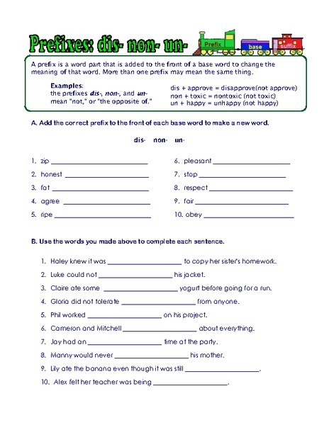 Prefix And Suffix Worksheets 6th Grade Worksheets For All