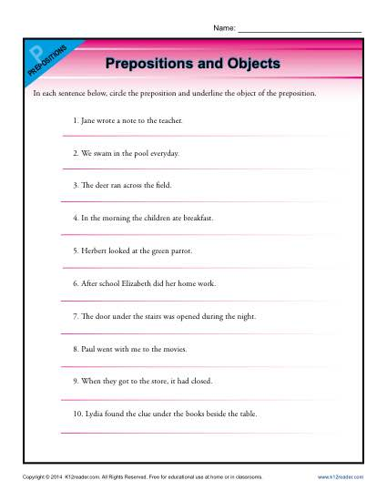 Prepositions And Objects