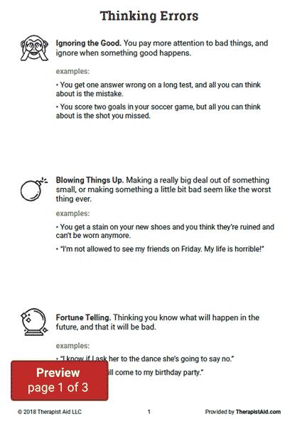 Thinking Errors (worksheet)