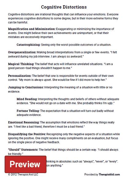 Cognitive Distortions (worksheet)