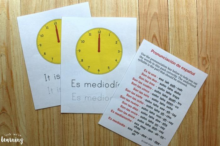 Spanish Worksheets For Kids  Spanish Telling Time Worksheets Pack