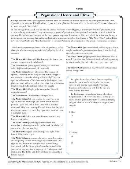 Pygmalion  Henry And Eliza Drama Worksheet