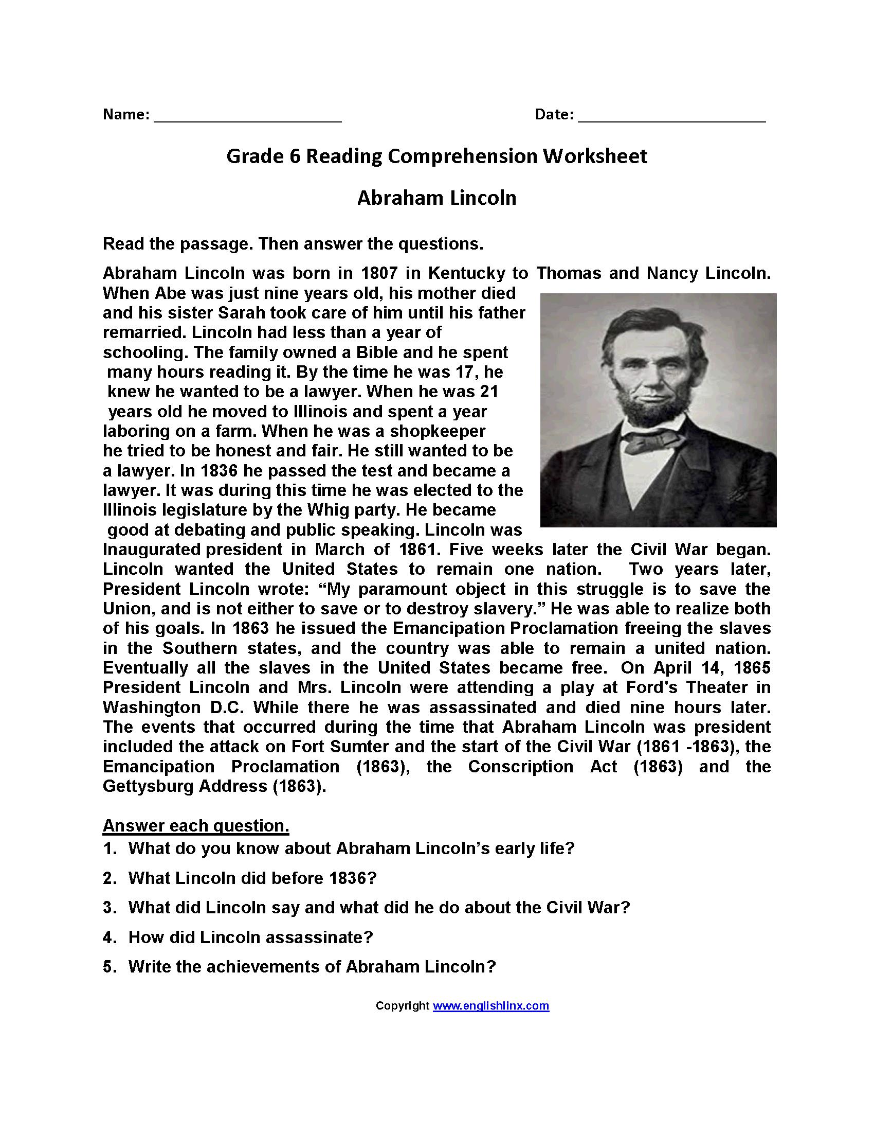 6th Grade Comprehension Worksheets Pdf