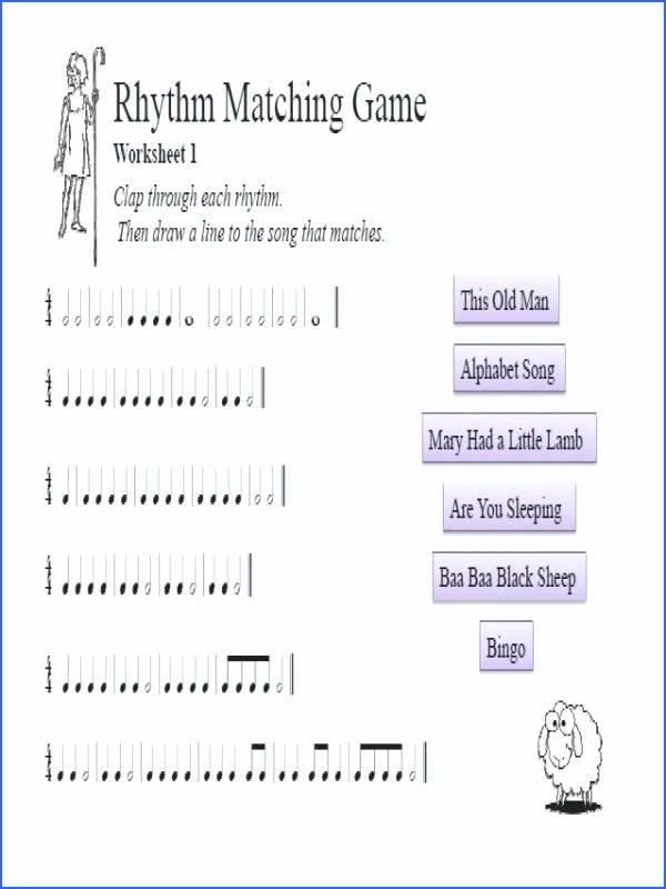 Rhythm Worksheets Free Music Theory Worksheet Match Rhythm To