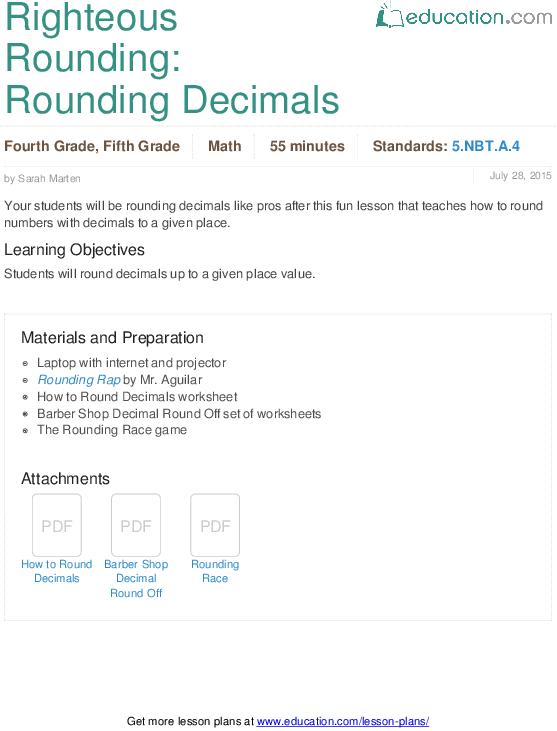 Righteous Rounding  Rounding Decimals
