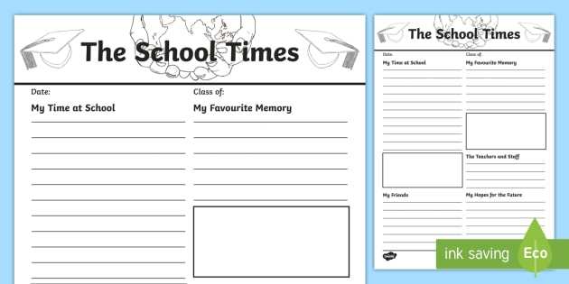 The School Times Newspaper Report Worksheet   Activity Sheet