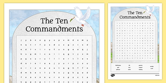 Ten Commandments Word Search Worksheet   Activity Sheet