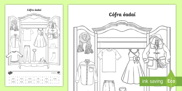 Label The Clothes Worksheet   Activity Sheet Gaeilge
