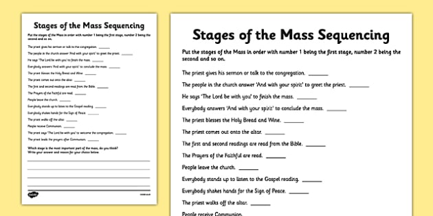 Stages Of The Mass Sequencing Worksheet   Activity Sheet