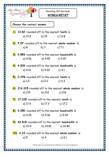 Grade 4 Maths Resources (3 4 Rounding Off Decimals Printable