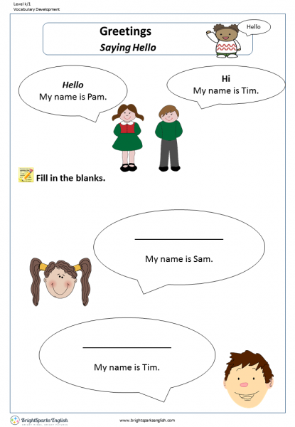 Saying Hello Worksheet – English Treasure Trove