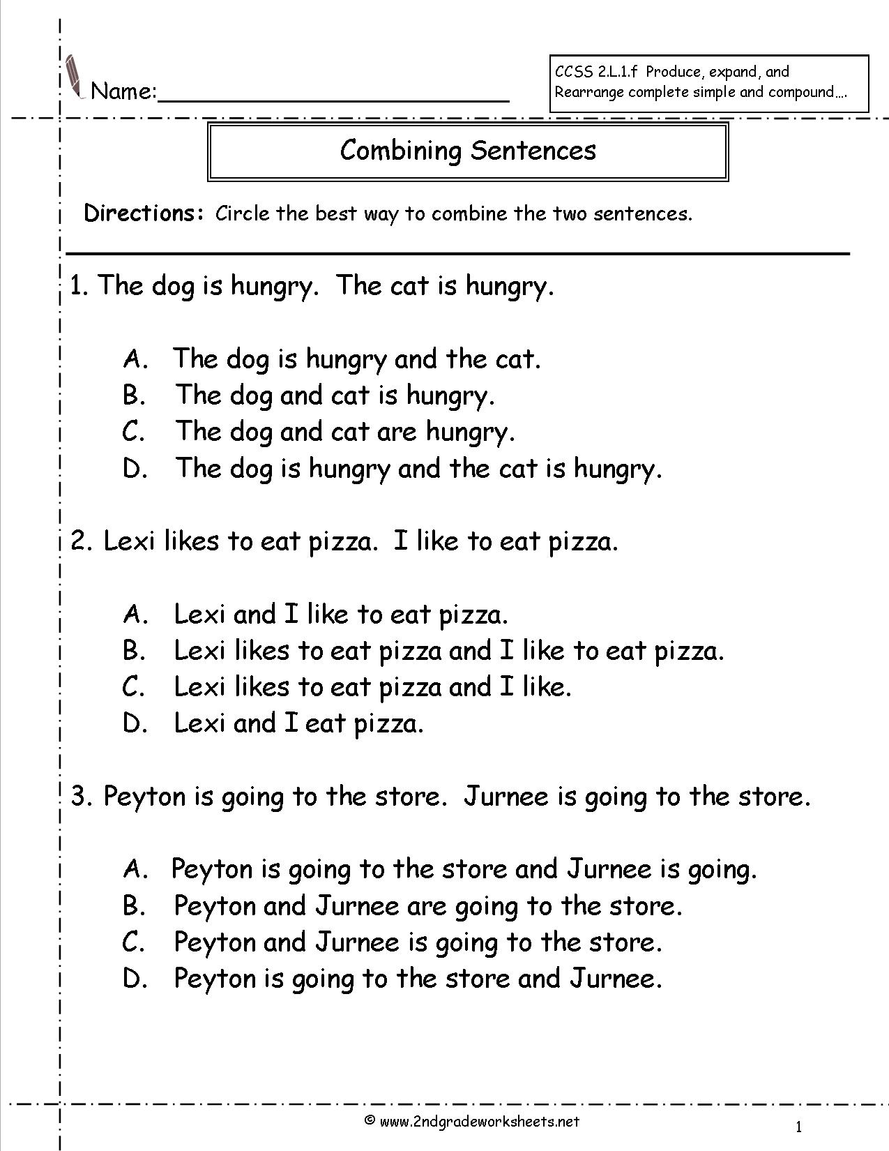 Sentence Writing Worksheets For 2nd Graders  392884