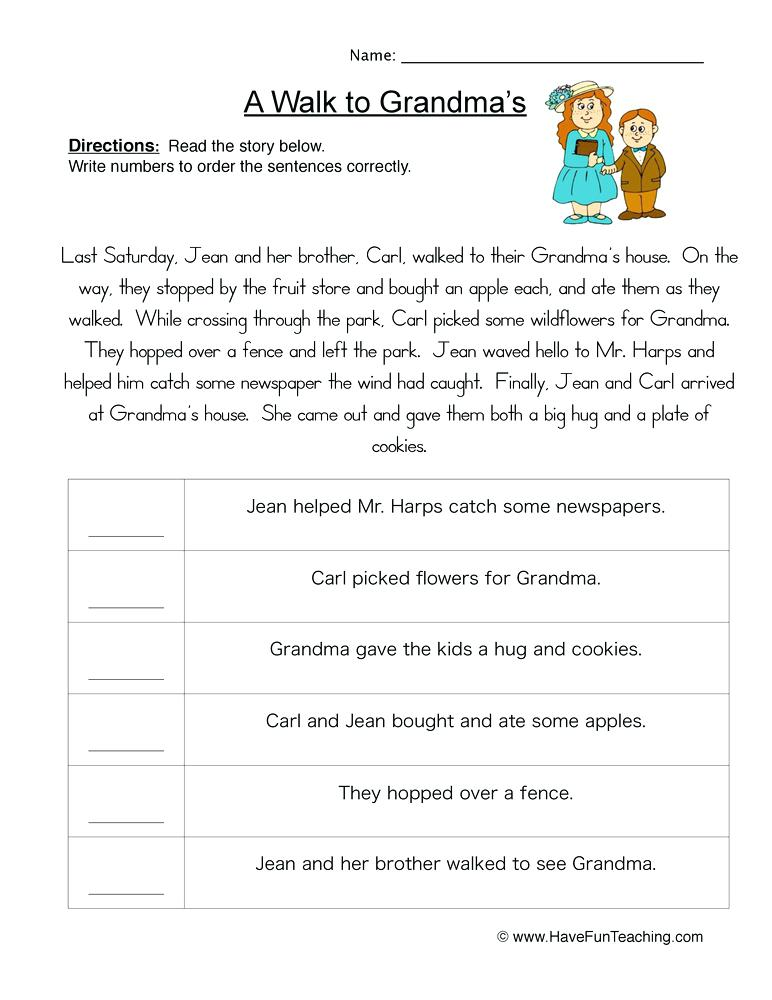 Sentence Sequencing Worksheets – Disdikdki Info