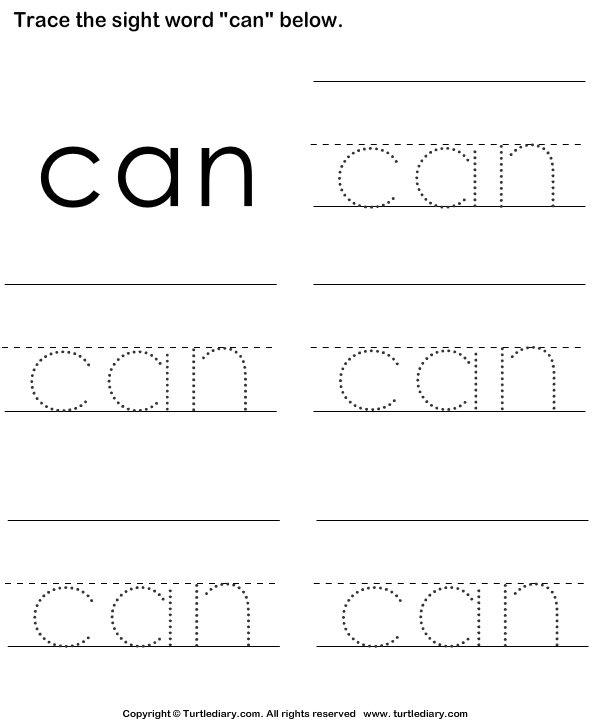 Sight Word Can Tracing Sheet Worksheet