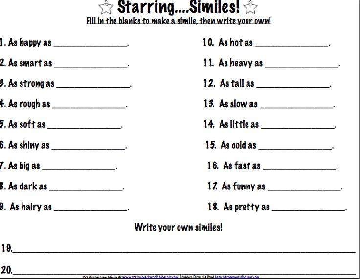 Simile Worksheets For Kids Worksheets For All