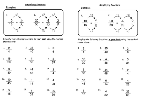 Reducing Fractions Worksheets  Fractions  Alistairtheoptimist Free