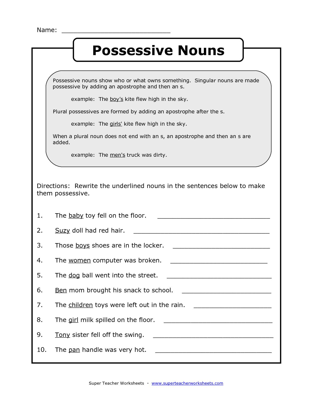Imágenes De Singular Possessive Nouns Worksheets 1st Grade