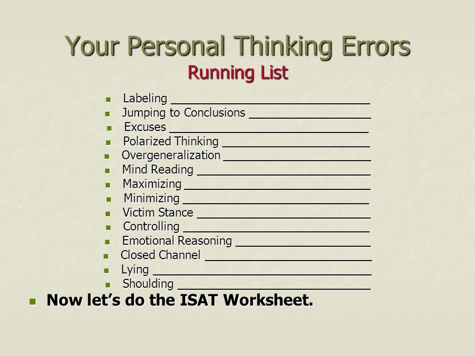 Errors In Thinking Worksheet