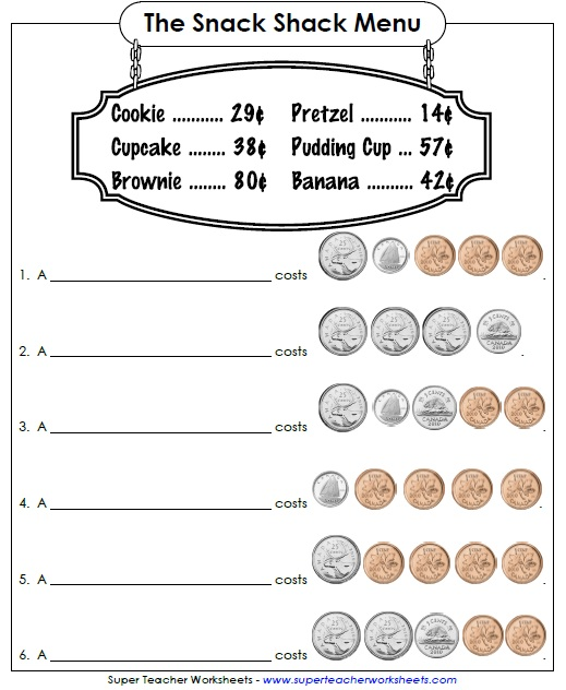 Counting Money Worksheets (canadian)