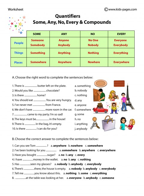 Some, Any, No, Every And Compounds Worksheet