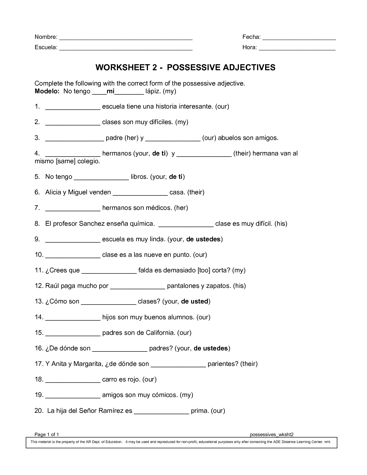 Worksheet Spanish Possessive Adjectives