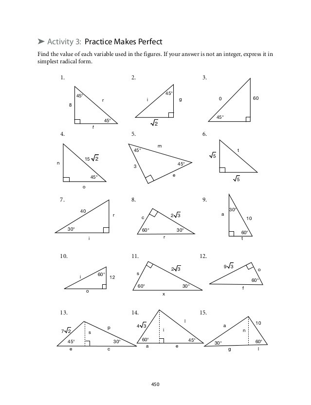 Special Right Triangles Worksheet Answers 8 2