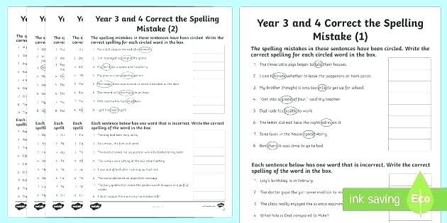 Spelling And Grammar Worksheets Grammar Correction Worksheets