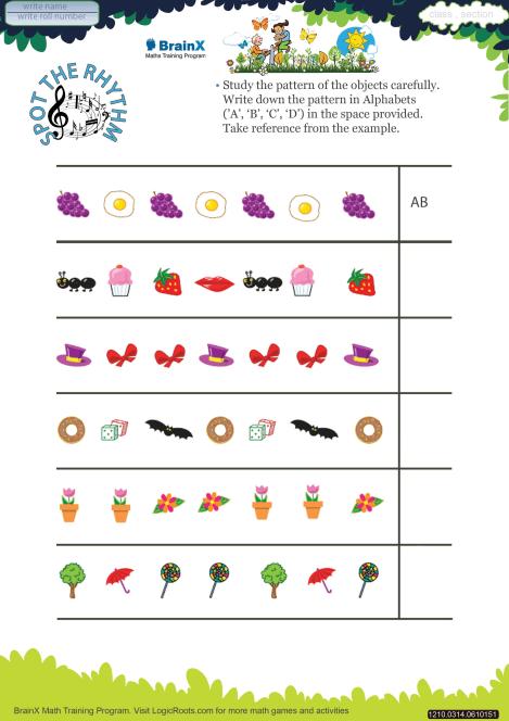 Spot The Rhythm Math Worksheet For Grade 3