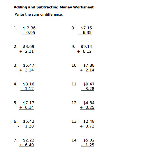 Sample Subtracting Money Worksheet