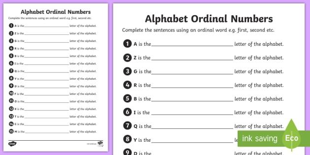 Alphabet Ordinal Numbers Worksheet