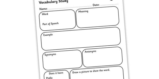 Vocabulary Word Study Worksheet