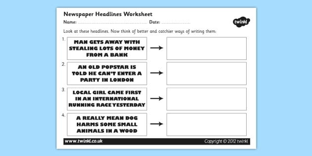 Newspaper Headline Writing Worksheet