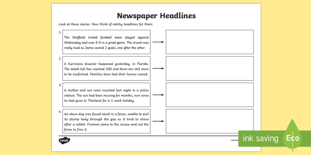 Newspaper Headline Writing Worksheet Higher Ability