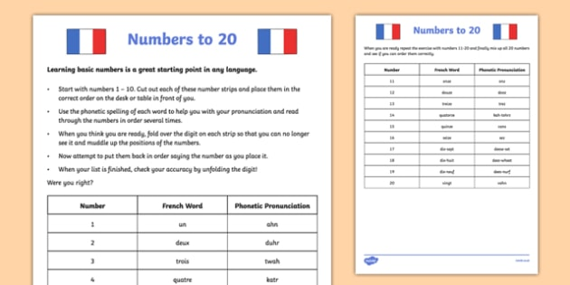 Numbers To 20 French Worksheet   Activity Sheet