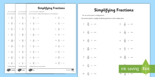 Year 6 Simplifying Fractions Worksheet   Activity Sheet