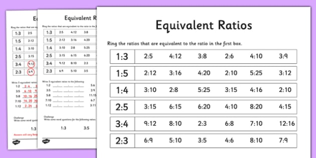Equivalent Ratios Worksheet   Activity Sheet