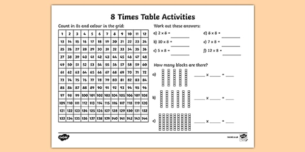 8 Times Table Worksheet   Activity Sheet