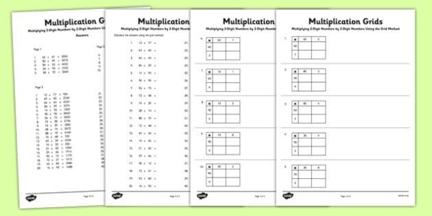 Multiplying 2 Digit Numbers By 2 Digit Numbers Using Grid Method