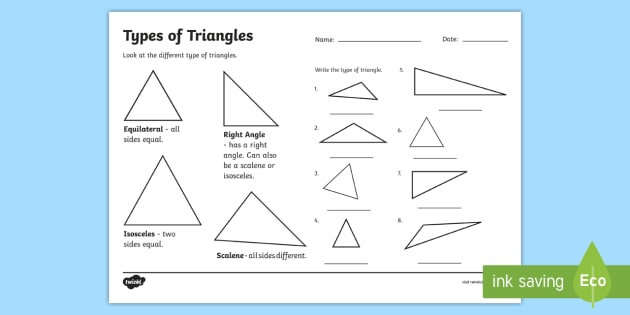 Types Of Triangle Worksheet