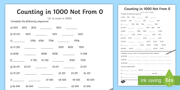 Counting In 1000 Not From 0 Worksheet
