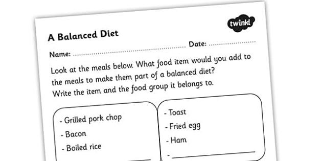 Balanced Diet Worksheet