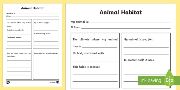 Animal Habitat Worksheet
