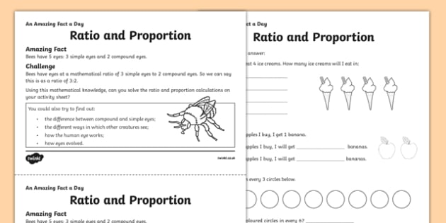 Ratio And Proportion Worksheet   Activity Sheet